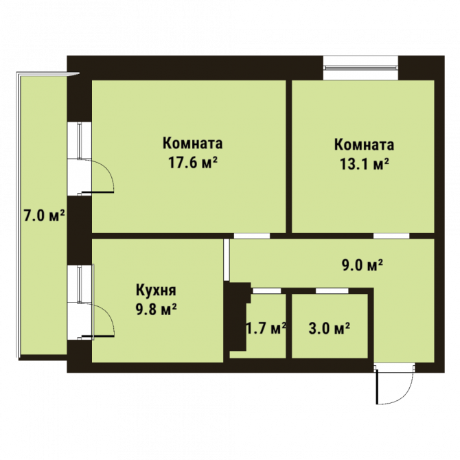 Планировка Двухкомнатная квартира площадью 54.1 кв.м в ЖК «До Ре Ми»