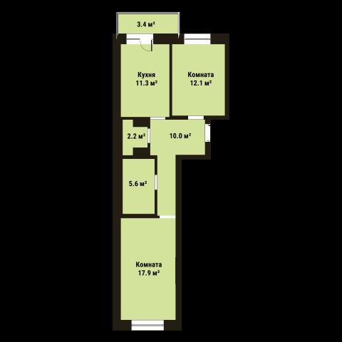 Планировка Двухкомнатная квартира площадью 59 кв.м в ЖК «До Ре Ми»