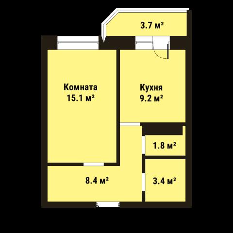 Планировка Однокомнатная квартира площадью 38.1 кв.м в ЖК «До Ре Ми»