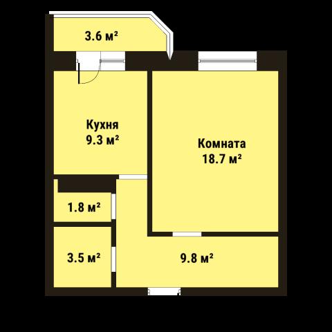 Планировка Однокомнатная квартира площадью 43.1 кв.м в ЖК «До Ре Ми»