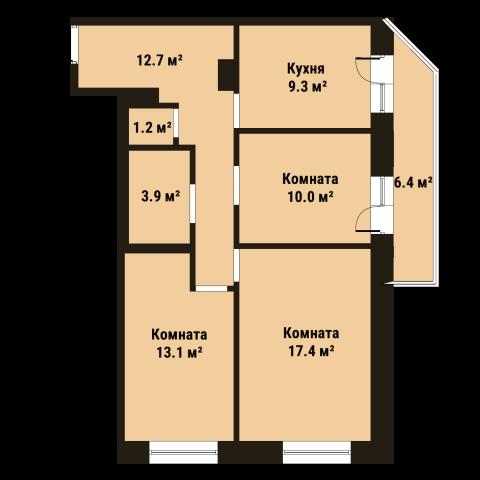 Планировка Трёхкомнатная квартира площадью 67.8 кв.м в ЖК «До Ре Ми»
