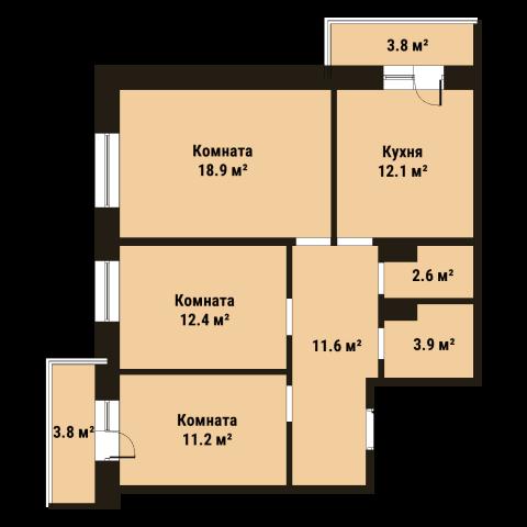 Планировка Трёхкомнатная квартира площадью 72.4 кв.м в ЖК «До Ре Ми»