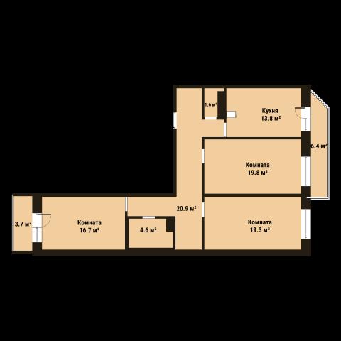 Планировка Трёхкомнатная квартира площадью 96.8 кв.м в ЖК «До Ре Ми»