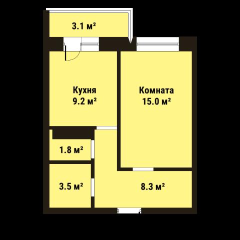 Планировка Однокомнатная квартира площадью 37.9 кв.м в ЖК «До Ре Ми»