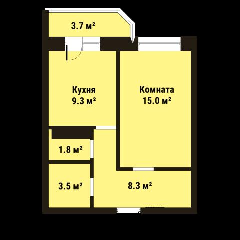 Планировка Однокомнатная квартира площадью 38.2 кв.м в ЖК «До Ре Ми»