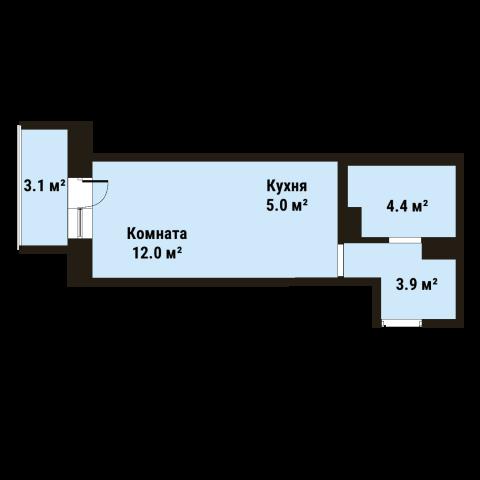 Планировка Студия площадью 25.3 кв.м в ЖК «До Ре Ми»