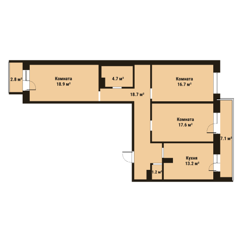 Планировка Трёхкомнатная квартира площадью 91.2 кв.м в ЖК «До Ре Ми»